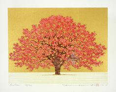 Red Tree with gold No. 404/500 by Hajime Namiki