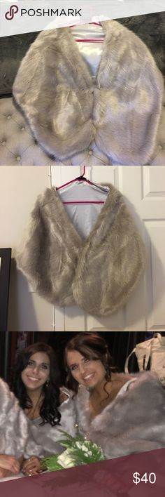 Faux fur shawl! Greyson- beige faux fur shawl - worn once for a wedding! In excellent condition, super soft and comfortable, very warm and perfect for a formal winter event! etsy Jackets & Coats Capes