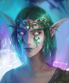 Night Elf from World of Warcraft, digitalart by Bella Bergolts from Moscow, Russia World Of Warcraft, Warcraft Heroes, Warcraft Characters, Warcraft Art, Fantasy Characters, Character Inspiration, Character Art, Design Inspiration, Character Design