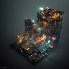 Voxel Factory by John Kearney. Game Environment, Environment Concept Art, Environment Design, Isometric Art, Isometric Design, Enter The Void, Pixel Art, Arte Steampunk, 3d Cinema