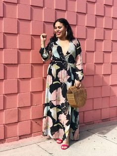 c030e35b0ed Wedding Guest Outfit Idea  Black Floral Maxi Dress Under  100