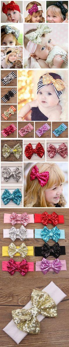 Newborn hair bow headbands baby girl hairband infant headbands holiday headbands for babe $2.52
