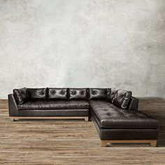 """Garner 118"""" Two Piece Leather Tufted Sectional in Libby Espresso"""