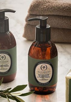"Made in Provence, this liquid Marseille soap is enriched with olive oil, known for its nourishing properties. It gently cleans the skin, without drying it and leaves a subtle ""green fruity fragrance"", fresh and grassy. Presented in an elegant 9.8oz bottle with a transparent amber color that models our olive oil bottles."