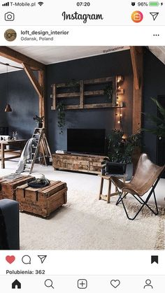 very interesting staging. The lights and plants and ladder accents give a very d... -  - #HomeAccessories Estilo Industrial, Industrial Loft, Industrial Living, Dream Rooms, Home Projects, Future House, Living Room Designs, Living Room Decor, Lofts