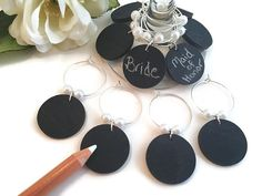 Rustic Bridal Shower Favors, Rustic Wedding Shower Favors, Chalkboard Wine Charms, Wine Glass Charms, Pearl Wine Glass Tags, Glass Markers