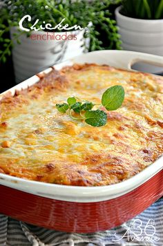 This Chicken Enchilada Recipe is delicious and super easy to make! @The 36th Avenue .com #recipes #chicken