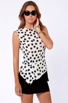 Check it out from Lulus.com! Prepare yourself for the earth-shaking glamour of the Shape-y Grounds Ivory Print Top! Sheer ivory chiffon forms a crew-neck, sleeveless shell that's printed with circles, squares, and triangles, for a look that's so much cooler than plain old polka dots. Pointed peplum waistline is set at an angle for a chic, asymmetrical spin on a classic staple. Darted bust. Exposed back zipper and invisible side zipper. Peplum is lined