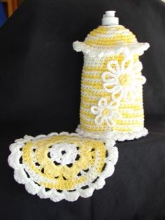 Dish Soap Cover/Made by Diana Karlsrud (Crochet by Kay)   Nice for the kitchen.