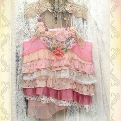 ruffled tunic blouse upcycled vintage fabrics