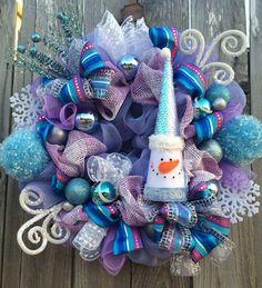 Snowman Wreath Snowman Decor Christmas Wreath by BaBamWreaths