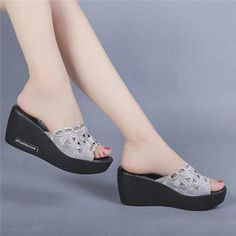 platform slippers wedges shoes for women luxury shoes women designers jelly shoes slippers beach slides slip on sandals plastic Wedge Shoes, Shoes Sandals, Heels, Jelly Shoes, Luxury Shoes, Designing Women, Fashion Shoes, Slippers, Footwear