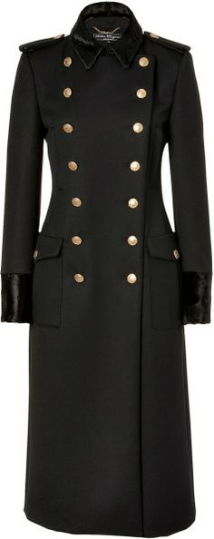 Black Doublebreasted Wool Coat with Fur Trim - Lyst