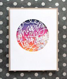 Ink Blended Birthday Shaker Card by Kristina Werner - visit site for video