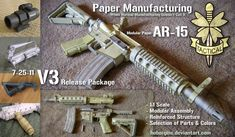 This is paper?  Really?  From what I read the plans are available.  I don't know if there's a charge but still---PAPER!  Modular Paper AR15 V3 by Hoborginc on DeviantArt (TAG: TUTORIAL)