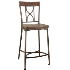 Hillsdale Furniture Paddock Brushed Steel Distressed Non-Swivel Counter Height Stools