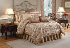 Croscill Home Olympia Full Comforter Set, Multi by Croscill. $126.80. The silk like ivory gathered dust ruffle has an 18-inch drop and coordinates with the printed bedding ensemble. FACE: 100% Polyester, (Back): 100% Cotton. Comforter measures 80-inch by 90-inch; bed skirt measures 54-inch by 77-inch; 2-standard shams measure 27-inch by 21-inch. Full set includes 1-comforter; 1-bed skirt and 2-standard shams. Dry clean only. The oversized woven comforter and shams feature hardy v...