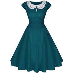 ACEVOG Women's Classy Vintage Audrey Hepburn Style 1940's Rockabilly... ($14) ❤ liked on Polyvore featuring dresses, blue vintage dress, blue dress, blue cocktail dress, vintage rockabilly dress and vintage dresses