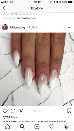 Beautiful ombré oval nails Beautiful ombré oval nails Related posts: Beautiful pink and white ombre nails with glitter ideas! Almond Acrylic Nails, Cute Acrylic Nails, Almond Nails, White Nails, Pink Nails, Hair And Nails, My Nails, Uñas Fashion, Oval Nails