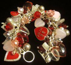 Vintage Style  Valentines  CHARM  Bracelet   HEARTS by Rackamoon, $39.99