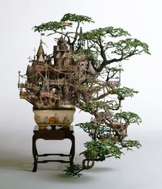 """These amazing model """"bonsai buildings"""" are the brainchild of Japanese designer, Takanori Aiba, who designed them based on his experience of working as a maze illustrator and art director for architectural spaces. 'I have had a habit of observing small objects from an early age,' says Aiba, in an interview with Urban Ghosts."""
