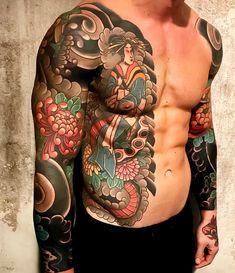 Black and White Japanese Sleeve Art Tattoos - Japanese Sleeve Art . - Black and White Japanese Sleeve Art Tattoos – Japanese Sleeve Art & Japanese sl - Irezumi Tattoos, Yakuza Style Tattoo, Tatuajes Irezumi, Maori Tattoos, Side Tattoos, Trendy Tattoos, Tattoos For Guys, Buddha Tattoos, Polynesian Tattoos