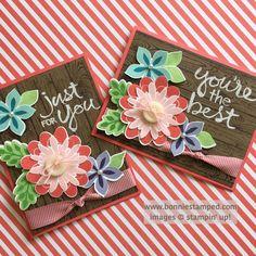 #flowerpatch #flowerfair #retiringproduct #watermelonwonder #buttons #hardwood #bonniestamped #stampinup