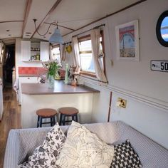 Creative & Cozy Caravan/RV/Boat Interior Design Ideas - napier news House Boat, Decor, Home, Narrowboat Interiors, Boat Interior Design, Narrowboat, Floating House, Interior, Houseboat Living