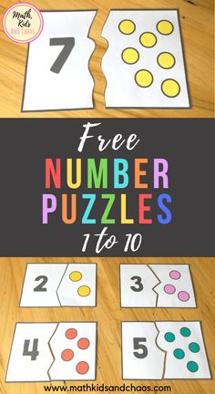 FREE number puzzles for the numbers 1 - These fun, colorful number puzzles are perfect for preschool and Kindergarten age children to practice counting and number recognition skills. Each puzzle card is split into two pieces - a number and a dot pictu Kindergarten Age, Numbers Kindergarten, Learning Numbers Preschool, Teaching Numbers, Numbers 1 10, Math Numbers, Numbers For Kids, Color By Numbers, Free Preschool