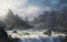 Art paintings fantasy landscapes mountains fog mist castle wallpaper | 1920x1200 | 30351 | WallpaperUP