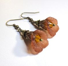 Jewelry Earrings  Brown Ruffled Flowers Lucite by SpiritCatDesigns, $5.00
