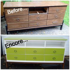 """Encore #89: """"Shelf life"""" Dresser with 1 missing drawer turned into TV stand with shelf for electronics For other fun furniture """"Encores"""" go to www.facebook.com/encore.decor"""