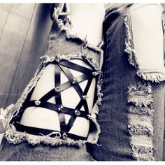 Star Garters Punk Stud Faux Leather Handmade Pentagram Leg Garter Belt Harness