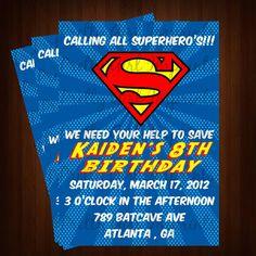 Superman Comic Inspired Invitation - Printable Superman Birthday Invitation - Customizable --Comic Book Superman Invitation ONLY $12.00