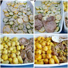 Pečené bravčové s cuketou a zemiakmi, Hlavné jedlá, recept | Naničmama.sk Vegetables, Food, Essen, Vegetable Recipes, Meals, Yemek, Veggies, Eten