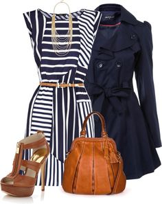 Navy, White, Brown Outfit. I really like the different directions of the stripes