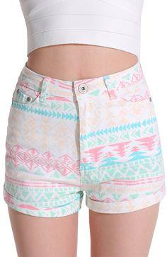 Multicolor Geometric Print Straight Shorts 19.33