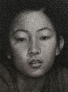 One of a series of portraits by Kumi Yamashita.  This body of work consists of three simple materials that, when combined, produce the portraits: a wooden panel painted a solid white, thousands of small galvanized nails, and a single, unbroken, common sewing thread.