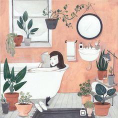 Illustration girl reading in bath - Winter Bathroom / Kelsey Garrity Riley