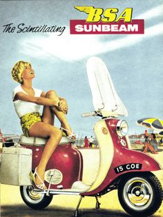 The BSA Sunbeam scooter (also sold as the Triumph Tigress), as it appeared on the rear cover of the 17 November 1960 issue of The Motor Cycle magazine.