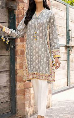 Lawn Suits, Famous Brands, Kurti, Sapphire, Dresses With Sleeves, Grey, Long Sleeve, Cotton, Clothes