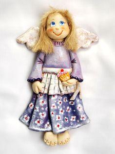 anioł z masy solnej, salt dough angel - Salt Dough Christmas Ornaments, Homemade Ornaments, Clay Ornaments, Gingerbread Salt Dough, Christmas Angels, Christmas Crafts, Clay Angel, Salt Dough Crafts, Polymer Clay Cake