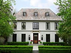 Home exterior, light house, dark trim French Country Exterior, French Country House, French Colonial, Country Homes, Casa Loft, Facade House, Classic House, House Goals, Style At Home