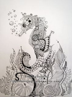 Seahorse+Zentangle+Design+print+by+LilyoftheValleyArt+on+Etsy,+$15.00