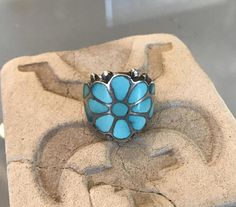 Frank Vacit Sterling Silver and Turquoise Inlay Ring