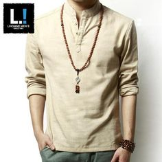 Autumn Long-sleeved Ventilated Solid Color Linen Cotton Leisure Dress Shirts For Men is fashion and stylish, especially suitable to wear in summer, mens t shirt is on sale on NewChic. Loose Shirts, Henley Shirts, Long Sleeve Shirts, Linen Shirts, Ethno Style, Hippie Style, T Shirt Vest, Dress Shirts, Collar Shirts