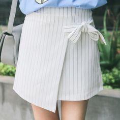Striped Wrap Mini Skirt
