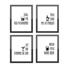nice Funny Home Decor / Call Me Old Fashioned / Set of 4 Prints Cocktail Theme / Gallery Wall / Alcohol Quotes / Home Kitchen / Bar