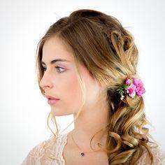 Pince à cheveux bohème rose fuchsia : Accessoires coiffure par nuagecolore