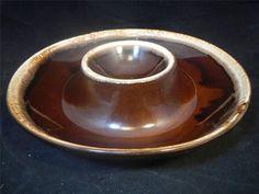 VTG McCoy 1960s Kathy Kale Brown Drip 1-pc Chip & Dip Bowl Plate Server Dish EUC / $14
